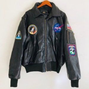 Alpha Industries Leather Jacket NASA Bomber Patch